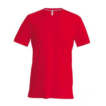 Kariban V-nyakú karcsusított pamut póló, piros