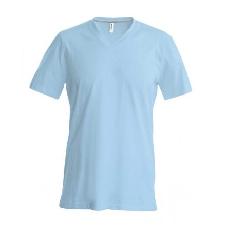Kariban V-nyakú karcsusított pamut póló, égkék