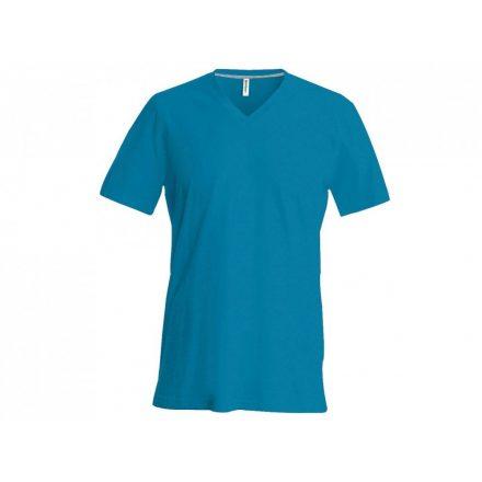 Kariban V-nyakú karcsusított pamut póló, tropical kék