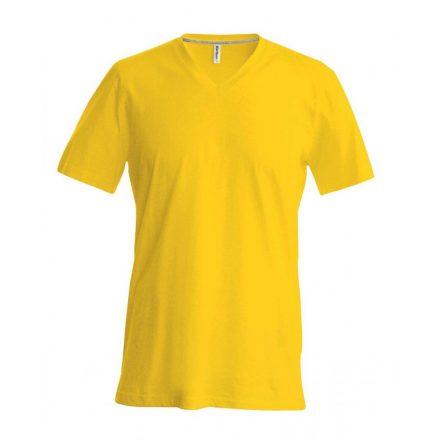 Kariban V-nyakú karcsusított pamut póló, sárga