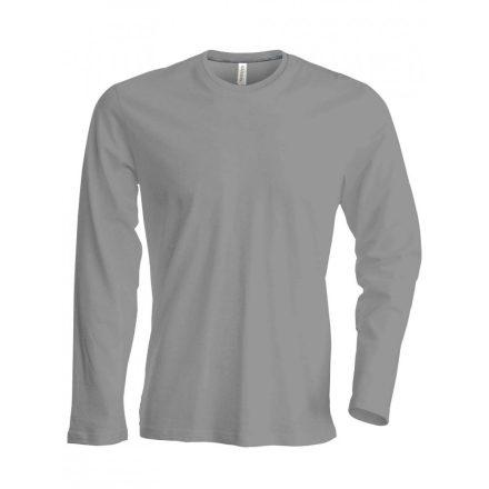 Kariban hosszúujjú karcsusított póló, oxford szürke