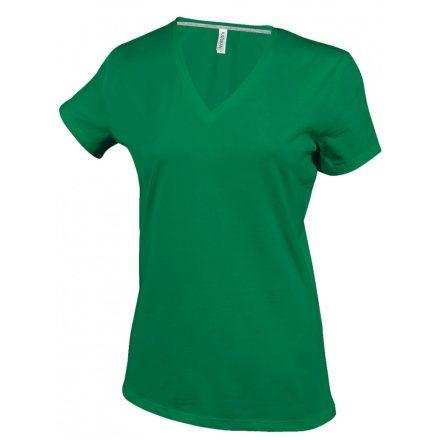Kariban Női V-nyakú póló, fűzöld
