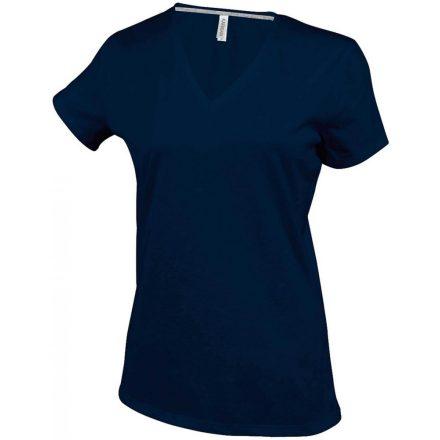 Kariban Női V-nyakú póló, sötétkék