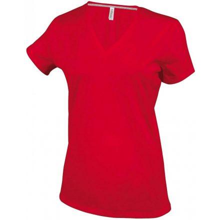 Kariban Női V-nyakú póló, piros