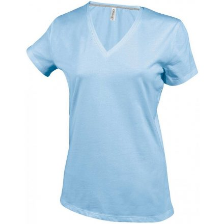 Kariban Női V-nyakú póló, égkék