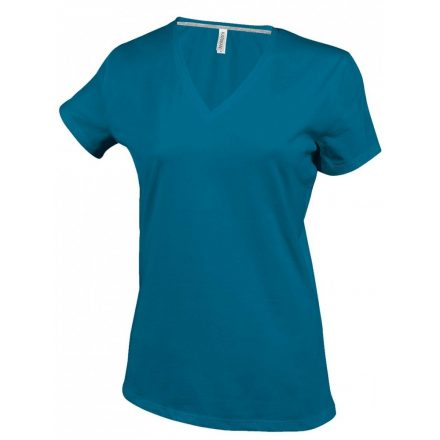 Kariban Női V-nyakú póló, tropical kék