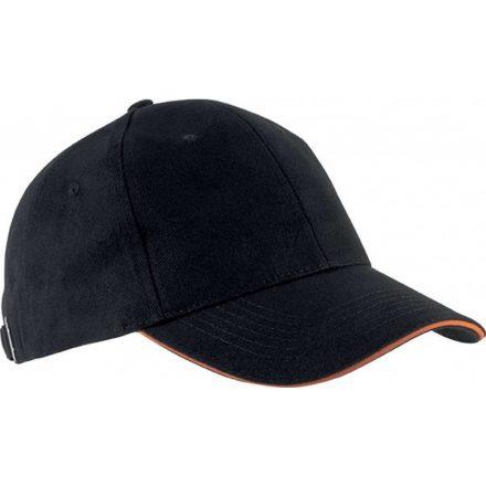 K-UP KP011 Orlando baseballsapka, 6 paneles, Black/Orange