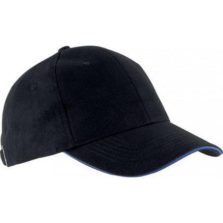 K-UP KP011 Orlando baseballsapka, 6 paneles, Black/Royal Blue