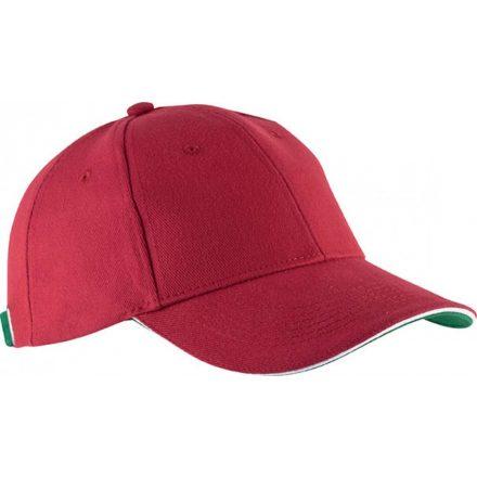 K-UP KP011 Orlando baseballsapka, 6 paneles, Red/White/Green