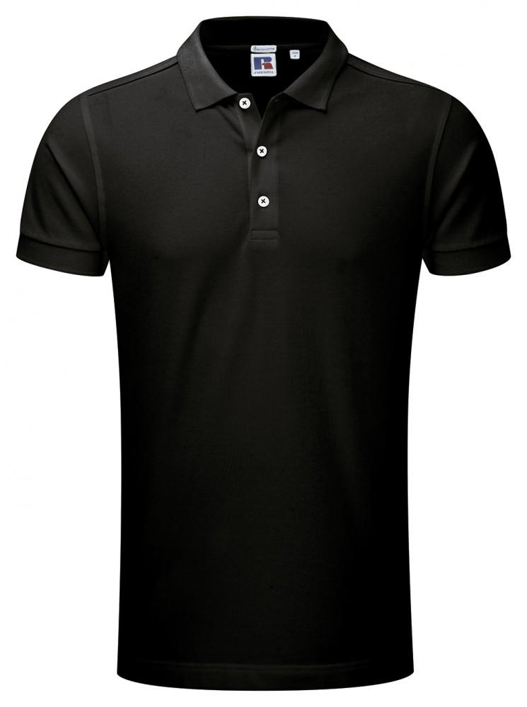 a58e5bb57a Russell férfi galléros stretch póló, fekete - poloplaza