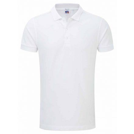 Russell férfi galléros stretch póló, fehér