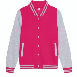 Just Hoods AWJH043F Hot Pink/Heather Grey