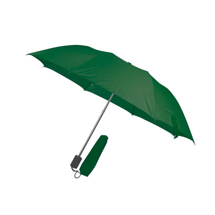 Összecsukható, teleszkópos esernyő, sötétzöld